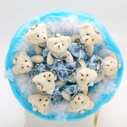 Букет с медвежатами и боа (9 шт, голубой)