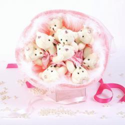 Букет с медвежатами и боа (9 шт, розовый)