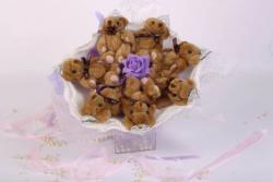 Букет с медвежатами (7 шт, фиолетовый)