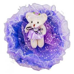 """Букет с медвежатами """"Зефирки"""" (1 шт, фиолетовый)"""