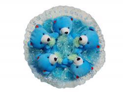 Букет с большими мишками (5 шт, голубой)