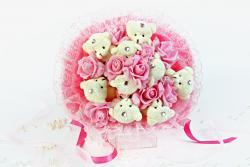 Букет с медвежатами и розами (9 шт, розовый)