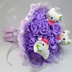 Букет с котятами и розами (3 шт, фиолетовый)