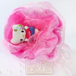 Букет с котятами (1 шт, розовый)