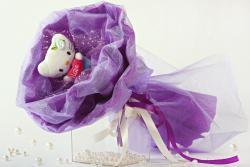 Букет с котятами (1 шт, фиолетовый)