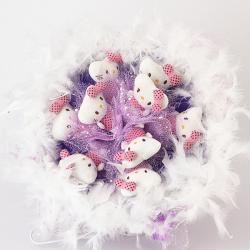 Букет с котятами (9 шт, фиолетовый)