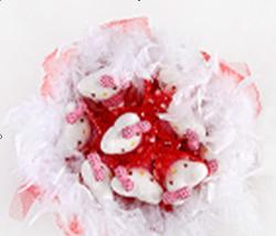 Букет с котятами (9 шт, красный) C002-9_red
