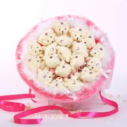 Букет с медвежатами и боа (15 шт, розовый)