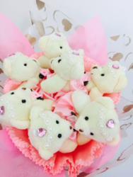 Букет с медвежатами (7 шт, розовый)