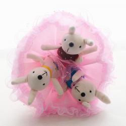 Букет с большими зайчатами (3 шт, розовый)