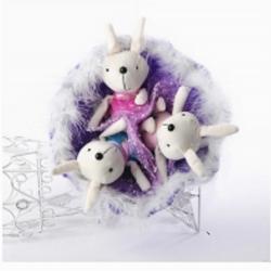 Букет с зайчатами (9 шт, фиолетовый)